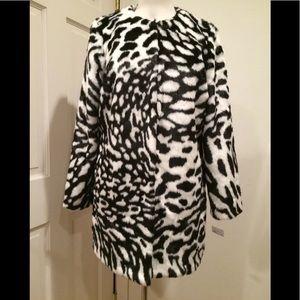 Michael Kors mink faux fur coat jacket petite PL